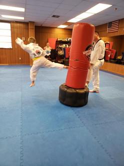 Yellow belt flying side kick