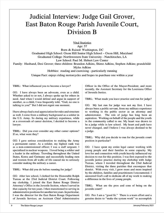 Judge Grover Interview BRBA