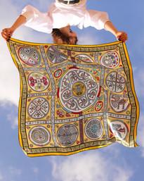 Gran Coclé royal, anath silk fashion, silk scarf, 100% silk, silk satin, hand rolled edges, yellow, multicolor, made in italy, sky, wind,