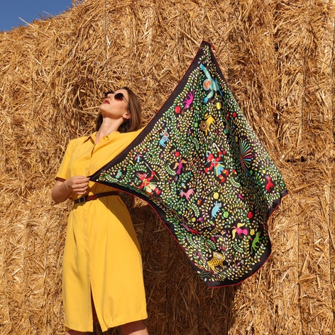Kings of Dahomey, anath silk fashion, silk scarf, open, hand rolled edges, made in italy, black, silk satin, multi color, outdoor, sunglasses