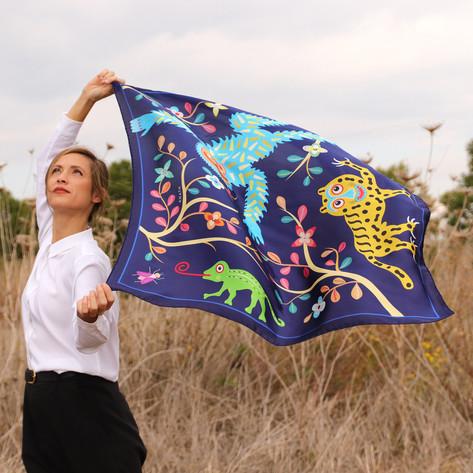 Abomey indigo, made in Italy, hand rolled edges, animals, forest, dark blue, 100% silk, silk twill, anath silk fashion, multicolor, outdoor