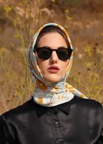 mirror, 100% silk, anath silk fashion, crepe de chine, silk scarf, blue, white, brown, outdoor, design