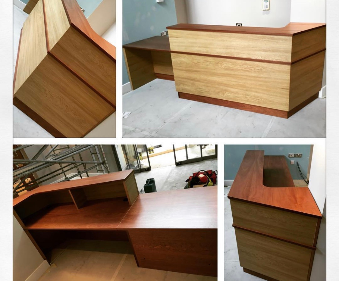 Fitted real wood reception counter.