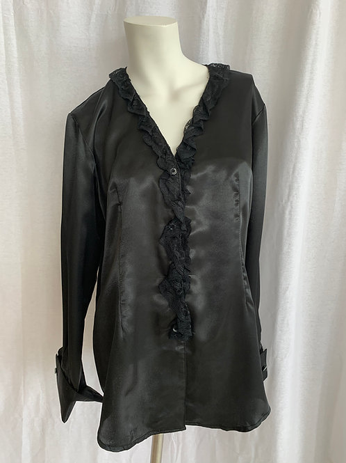 Women's Black Silky Blouse with Lace - Medium
