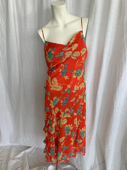 Spaghetti Strap Orange Floral Dress - Size 8