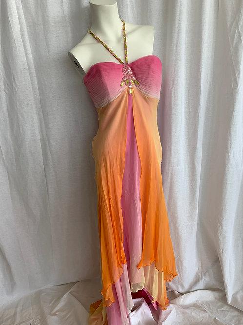 Orange & Pink Halter Dress - Alfred Angelo - Size 8