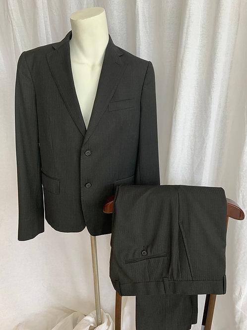 Men's Black Stripe Suit - Size 40