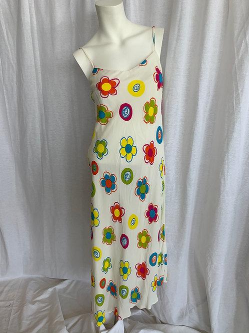 Spaghetti Strap White & Multi Floral Dress - Quintieri - Size 4