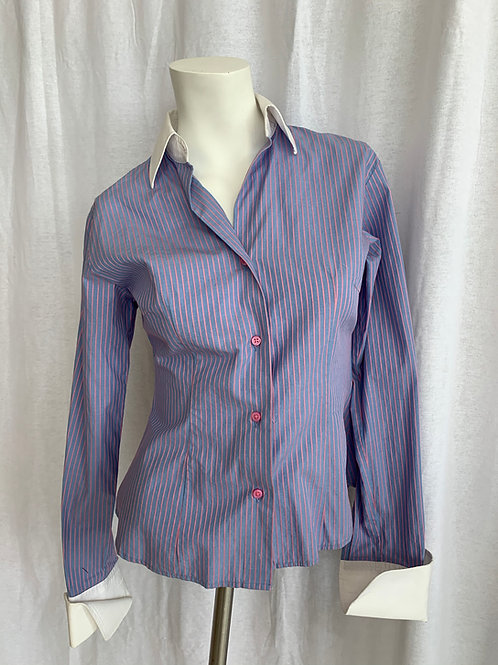 Women's Blue & Pink Stripped Blouse - Small