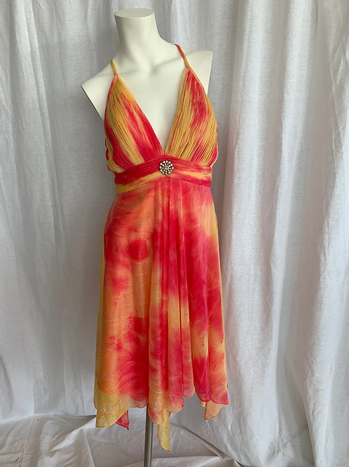 Women's Mid Calf Dress Red & Yellow - Size 6