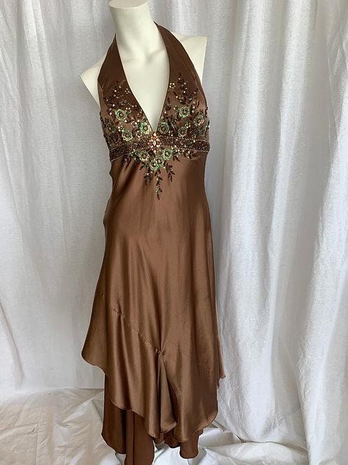 Brown Silky Halter Dress - Size 8