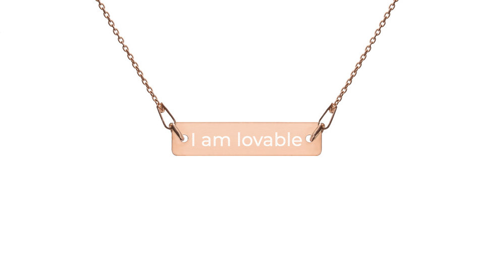 """I am lovable"" Affirmation Engraved Bar Chain Necklace"