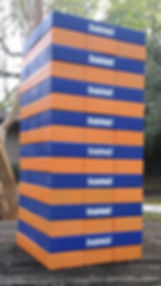 Stubhub, stubhub giant lumberstack, giant tumble towers, custom tumbling tower, giant logo blocks, logo game,Corporate Custom Logo giant outdoor block tower game, promotional game, teambuilding game, custom christmas gift, wood or cork giant block games, best gift 2017
