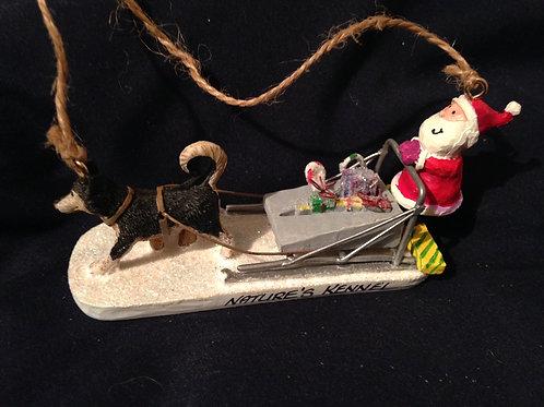 Nature's Kennel Santa Sled Dog Ornament