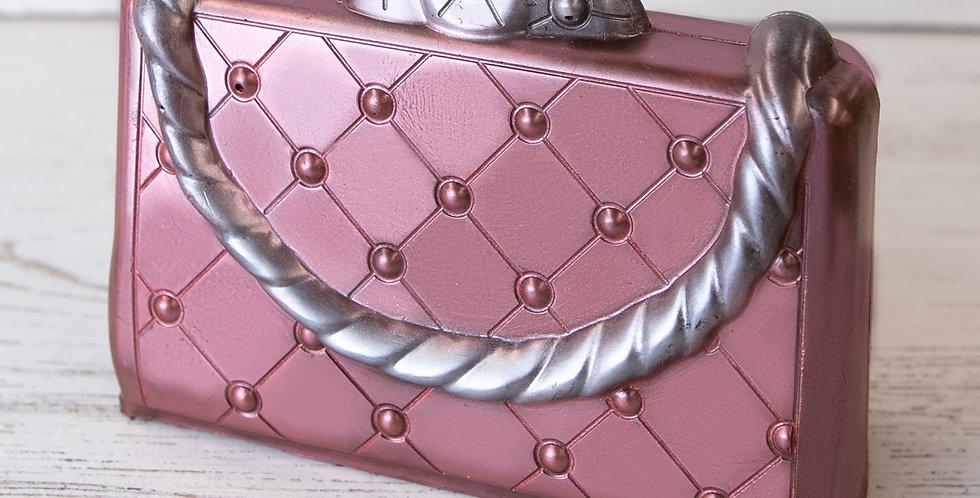 Hollow milk chocolate ladies purse with metallic luster dust