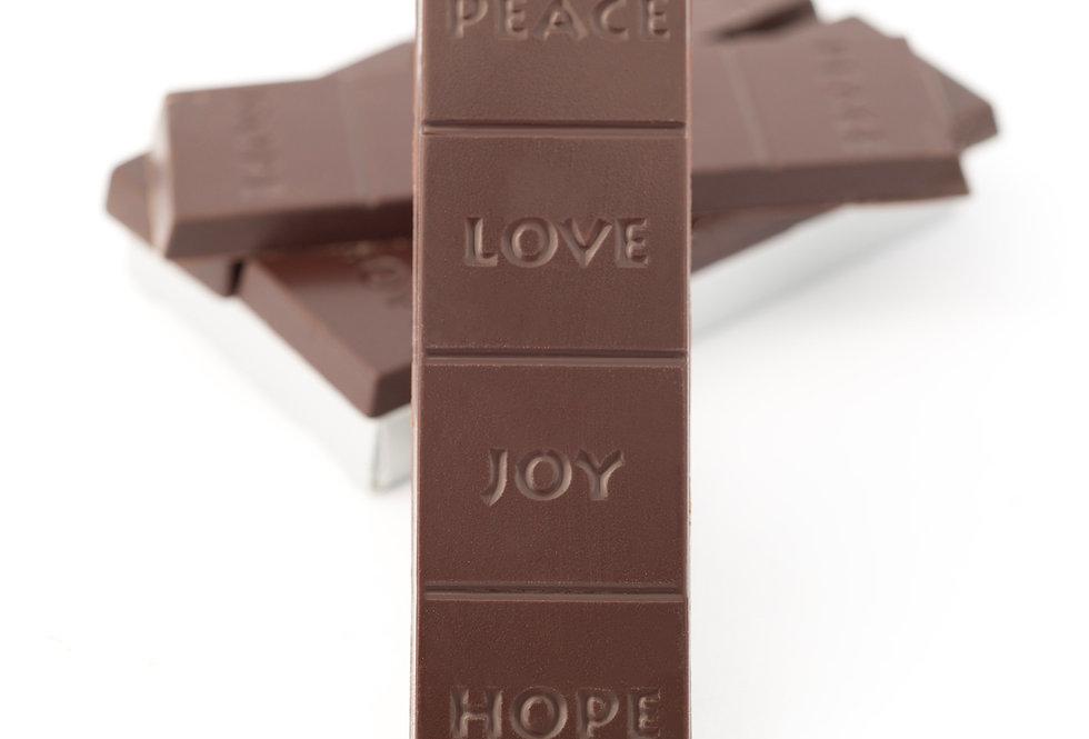Dark chocolate bar - Peace, Love, Joy, Hope - sold in case quantities