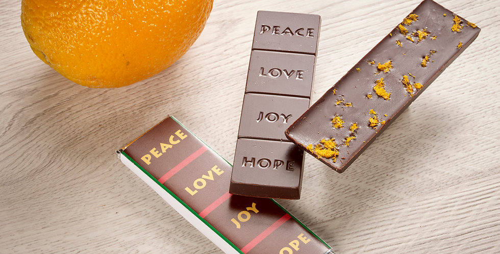 Blood Orange - Peace, Love, Joy, Hope 70% Organic Dark Chocolate Bar