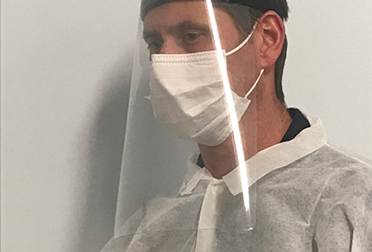 medical grade plastic face shields PPE - side view