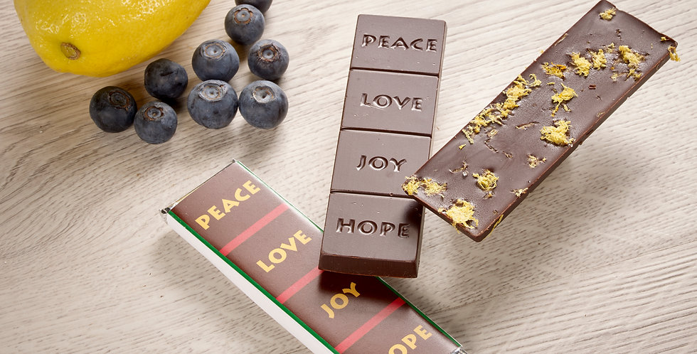 Blueberry Lemon - Peace, Love, Joy, Hope 70% Organic Dark Chocolate Bar