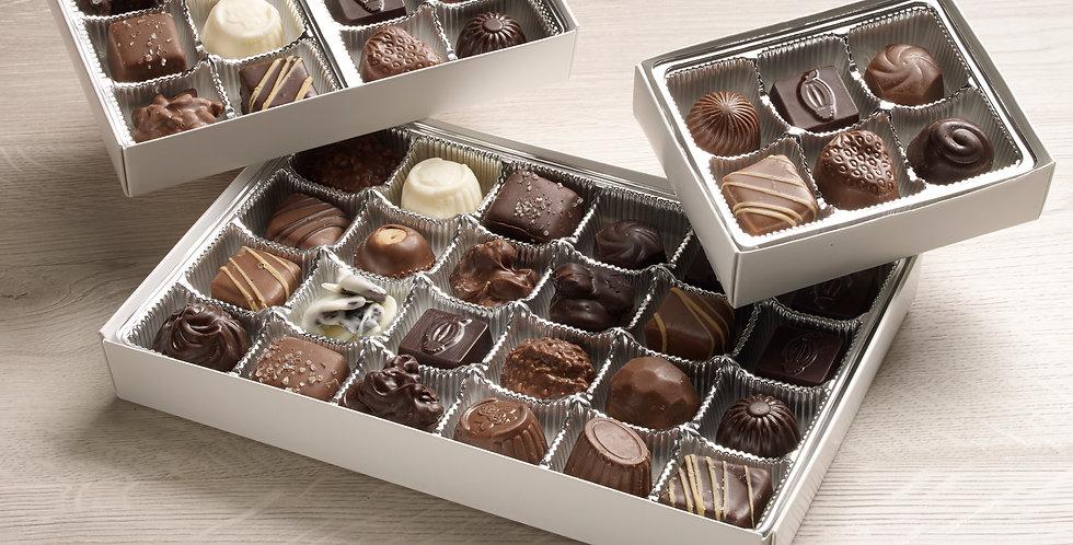 Assorted chocolates: dark, milk, white, 70% organic dark