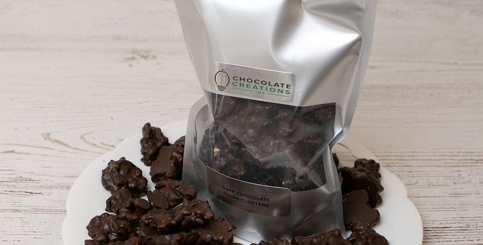 Dark chocolate pecan clusters