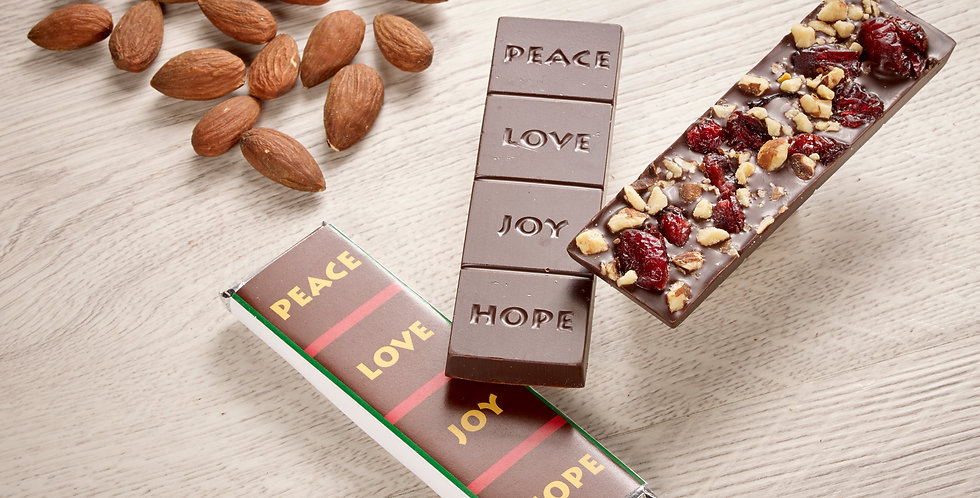 Cranberry Almond - Peace, Love, Joy, Hope 70% Organic Dark Chocolate Bar