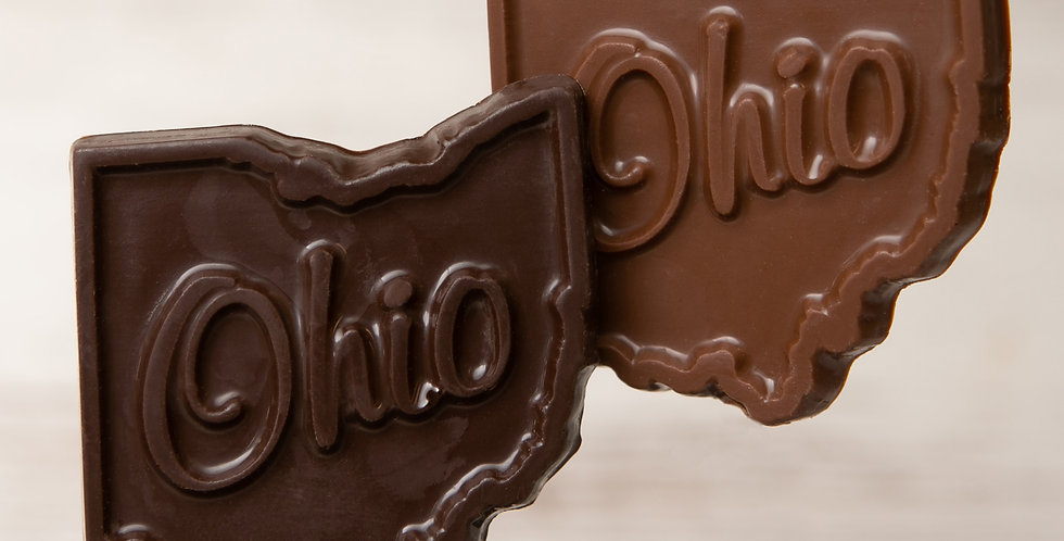 Solid chocolate Ohio state in dark chocolate or milk chocolate