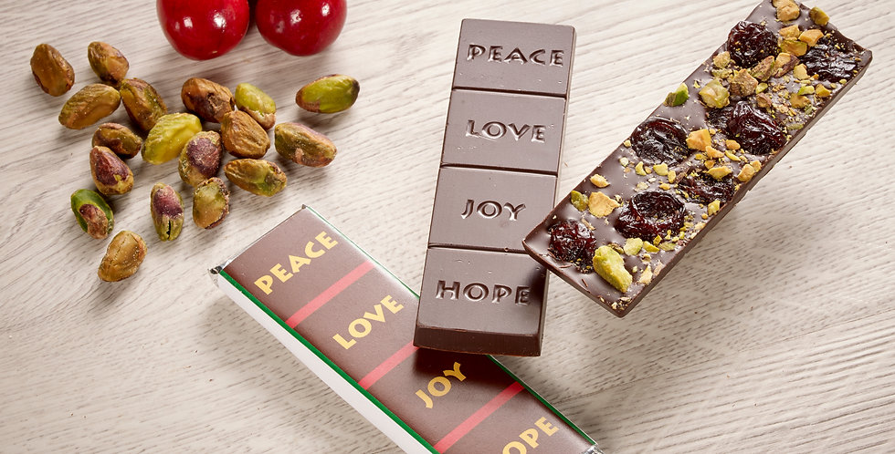Cherry & Pistachio - Peace, Love, Joy, Hope 70% Organic Dark Chocolate Bar