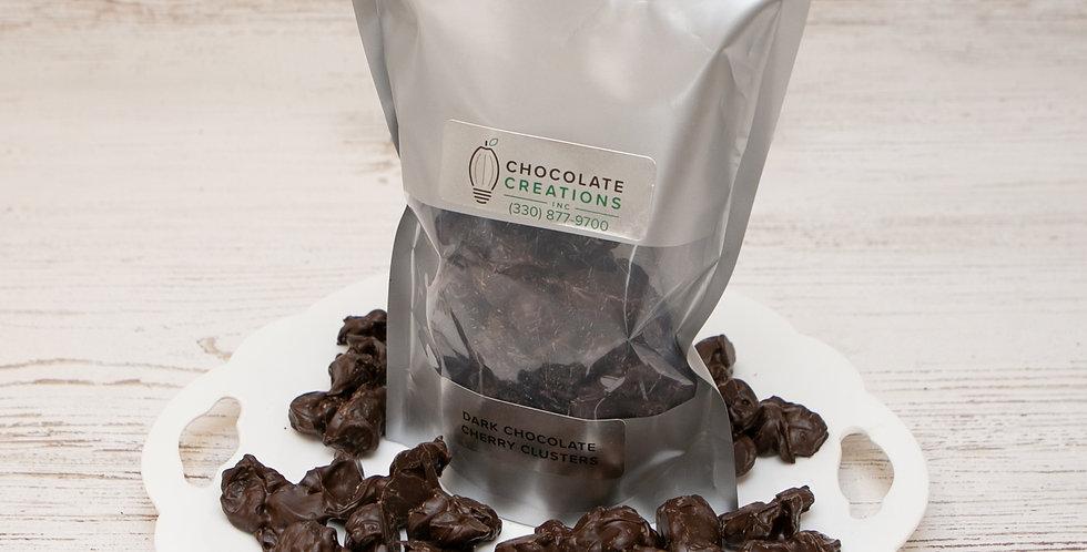 70% dark organic chocolate clusters with organic tart Michigan cherries