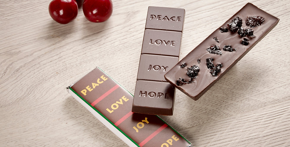 Organic Michigan Cherry - Peace, Love, Joy, Hope 70% Organic Dark Chocolate Bar
