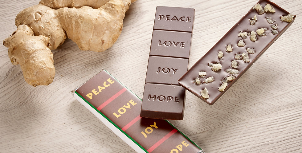 Ginger - Peace, Love, Joy, Hope 70% Organic Dark Chocolate Bar