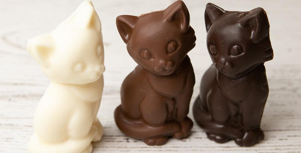 Solid chocolate cat in white chocolate, milk chocolate, or dark chocolate