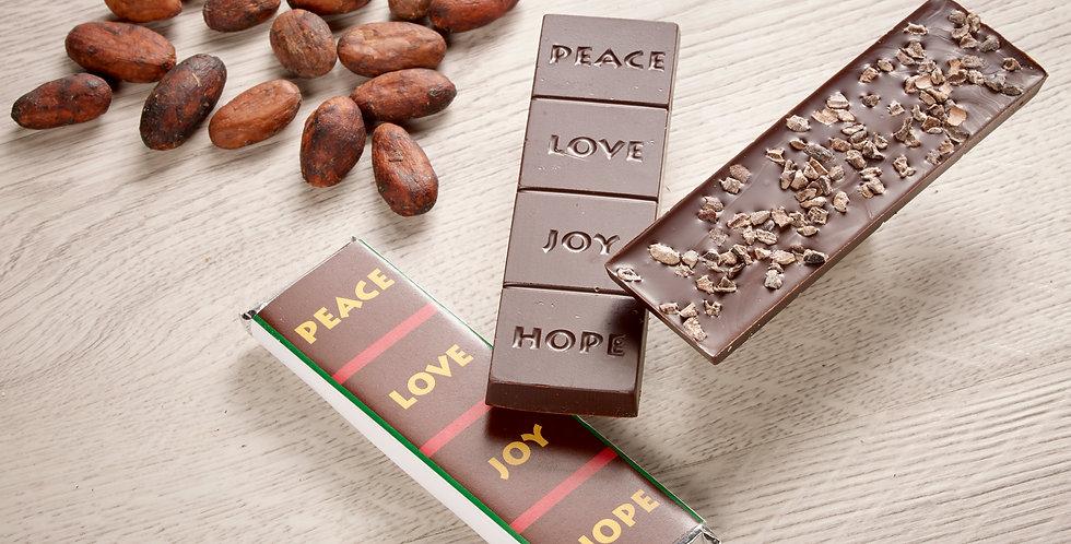 Cacao Nib - Peace, Love, Joy, Hope 70% Organic Dark Chocolate Bar
