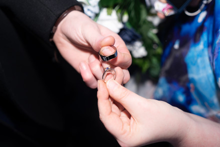 The newlyweds keep their rings in manchester's registry office