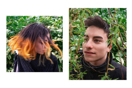 a diptych with headshots of a couple in green bushes