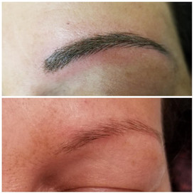 Brows before and immediately after