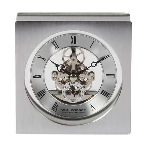 SKELETON BRUSHED ALUMINIUM MANTEL CLOCK