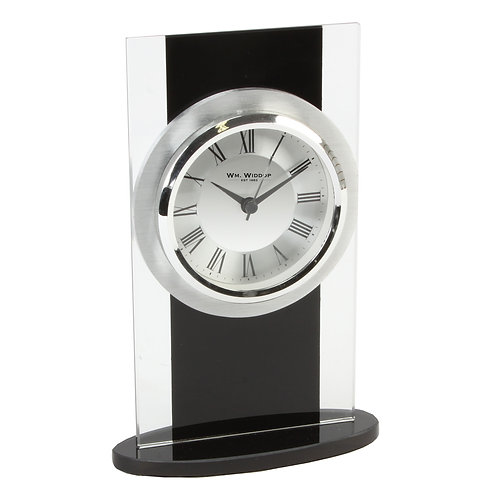 BLACK GLASS MANTEL CLOCK