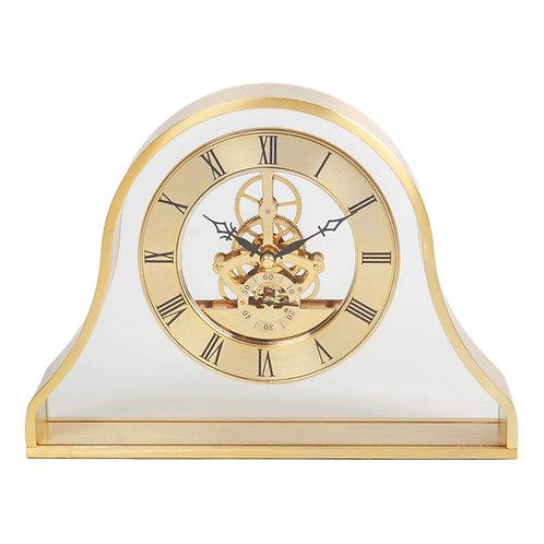 GOLD NAPOLEON SKELETON MANTEL CLOCK