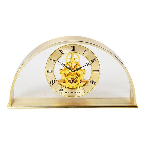 GOLD ARCH CLOCK WITH SKELETON MOVEMENT
