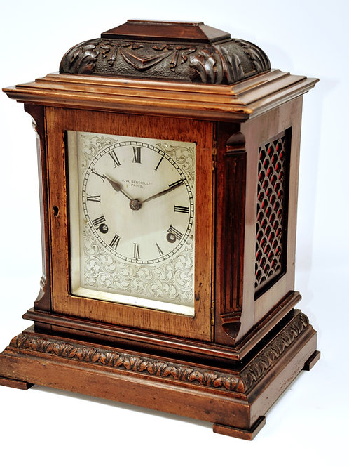 J W Benson Retailed German Striking mantle clock.