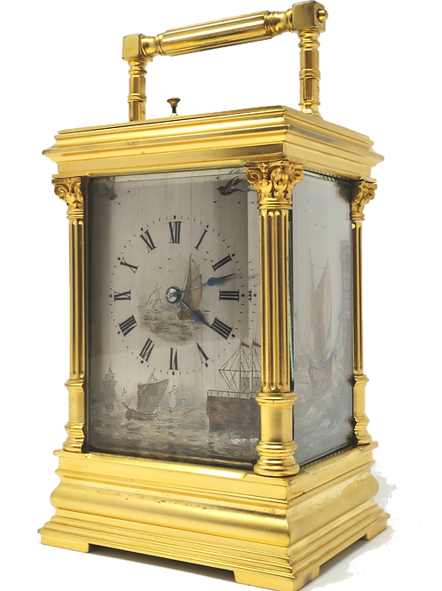 Panelled 8 day French carriage clock.