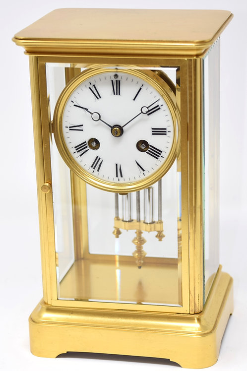 4 Glass French 8 day, bell striking mantle clock