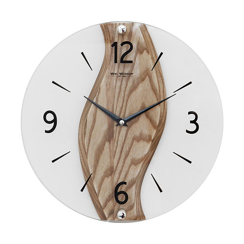 SOLID OAK & GLASS ROUND WALL CLOCK - 30CM