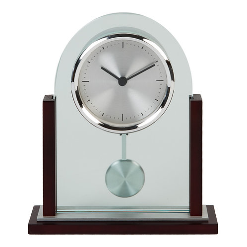 ARCHED GLASS & WOOD MANTEL CLOCK