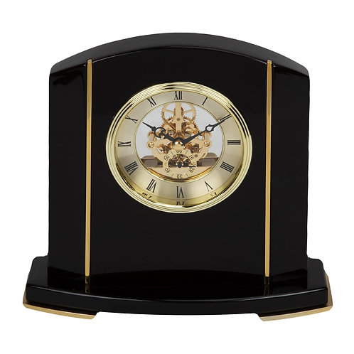 BLACK PIANO WOOD SKELETON MANTEL CLOCK