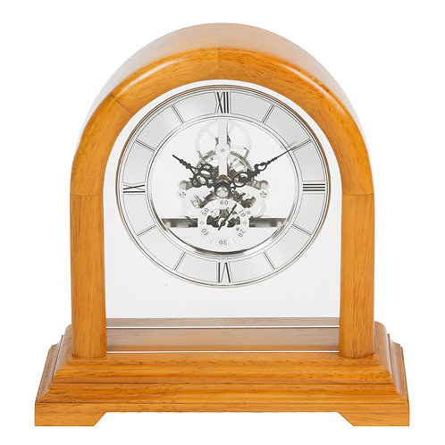 SKELETON MOVEMENT WOODEN MANTEL CLOCK 28CM