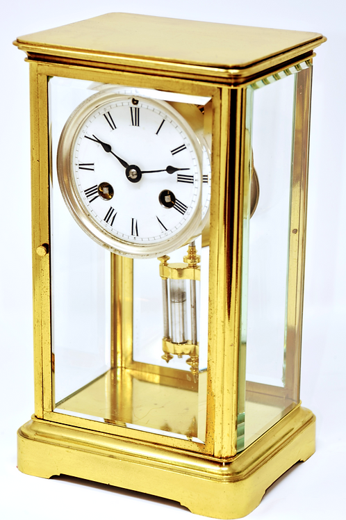 Fine 4-Glass French Bell Strike Spring Table Clock