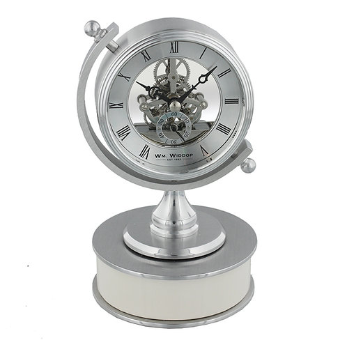 BRUSHED METAL COMPASS STYLE SKELETON CLOCK