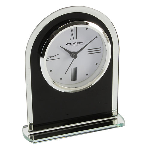 BLACK GLASS ARCHED MANTEL CLOCK